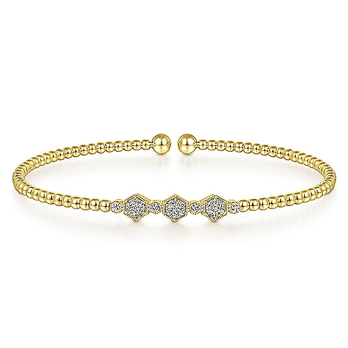 14 Karat Yellow Gold and Diamond Hexagon Bangle