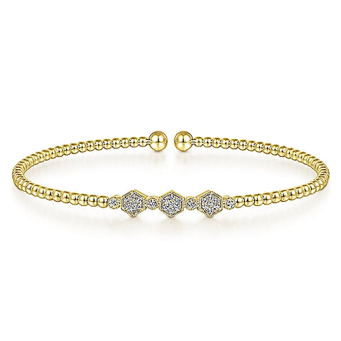 14k Yellow Gold Diamond Hexagon Bangle