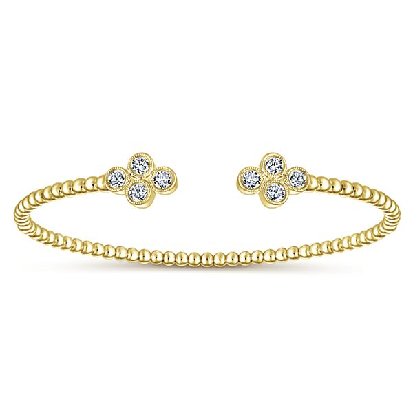 14k Yellow Gold Bead Cuff with Quatrefoil Diamond Endcaps
