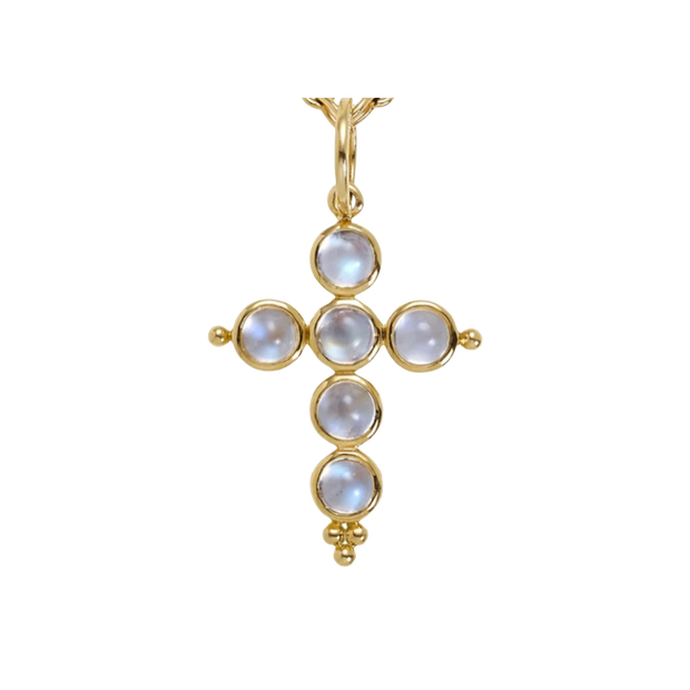 Temple St. Clair 18k Yellow Gold Royal Blue Moonstone Small Cross Enhancer