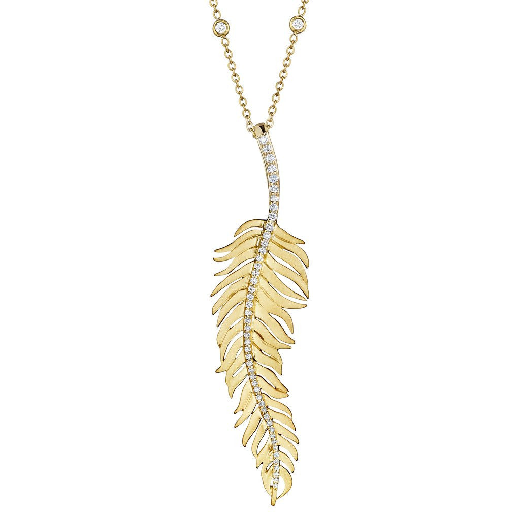 Penny Preville 18kt Yellow Gold Diamond Center Feather Pendant