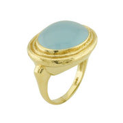 18k Yellow Gold Aqua Oval Cabochon Ring