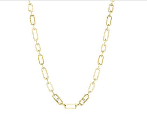 Penny Preville 18 Karat Yellow Gold Large link Chain Necklace with Diamonds