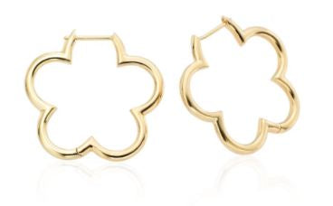 18k Yellow Gold Small Clover Hoops