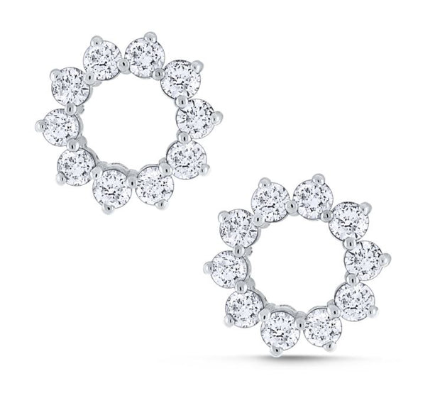 14k White Gold Diamond Circle Studs