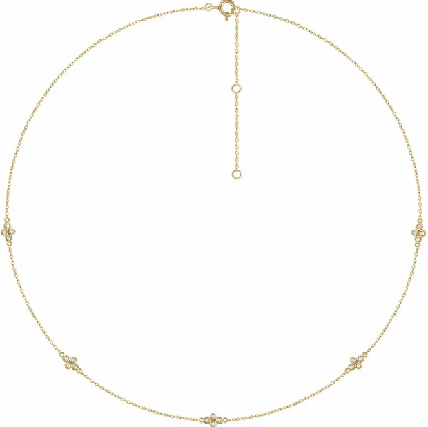14K Yellow Gold Diamond 5-Station Necklace