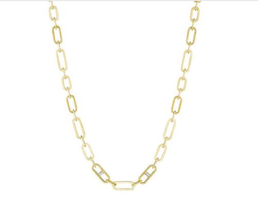 Penny Preville 18 Karat Yellow Gold Large Link Chain Diamond Necklace