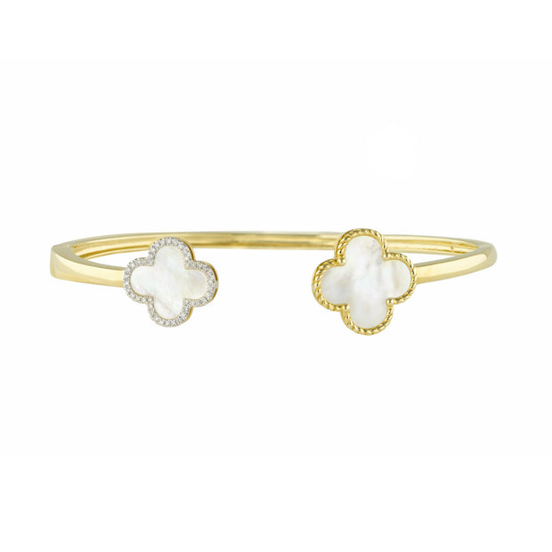 14k Yellow Gold Clover Diamond and Pearl Cuff