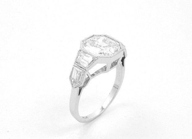Asscher Cut Platinum and Diamond Ring