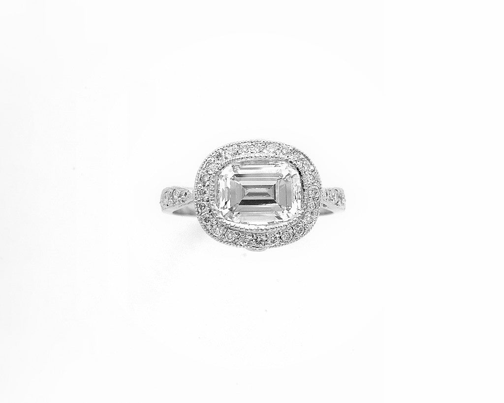 Emerald Cut Platinum and Diamond Ring