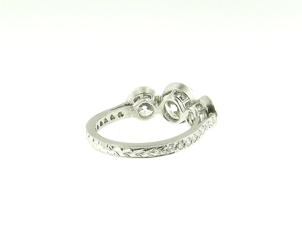 3 Stone Platinum and Diamond Ring