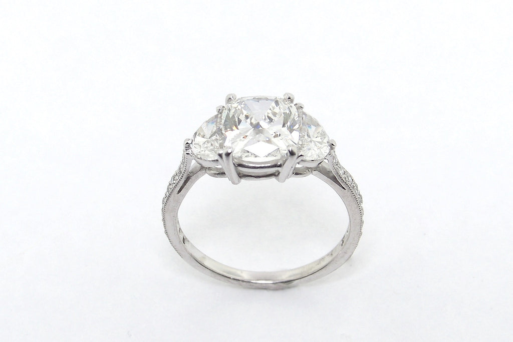 Three Stone Platinum and Diamond Ring with Half-Moons