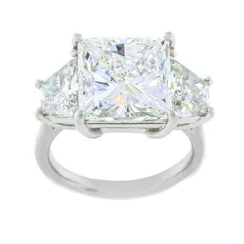 Custom Princess Cut Engagement Ring with Diamond Trapezoids