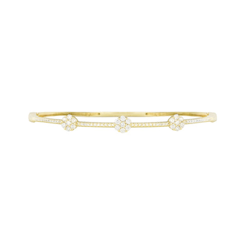 14k Yellow Gold Diamond Flower Bracelet
