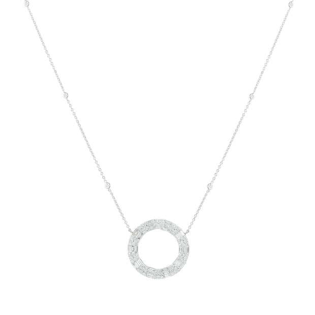 14k White Gold Diamond Illusion Necklace