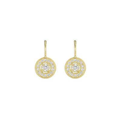 Penny Preville 18kt Yellow Gold Medium Pave Round Earring with Engraving