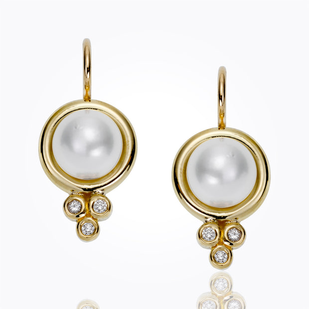 Temple St. Clair 18K Classic Pearl Earrings with Diamonds