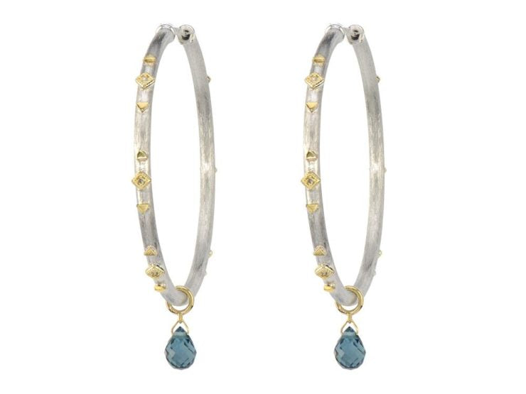 Jude Frances Mixed Metal Beaded Quad Hoop Earring with Labradorite Drop