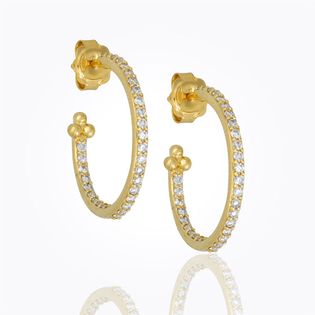 Temple St. Clair 18K Pavé Hoop Earrings with Diamonds