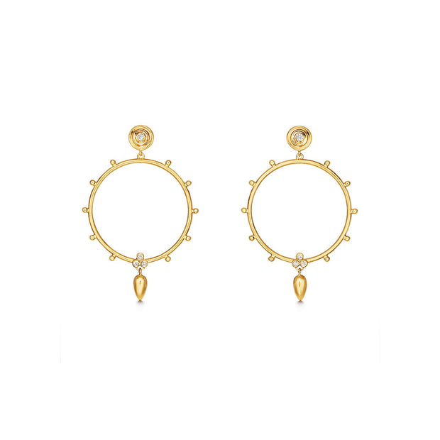 Temple St. Clair 18k Yellow Gold and Diamond Round Drops
