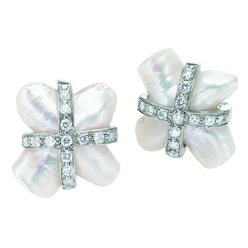 "Fresh Water Pearl ""X"" with Diamonds"