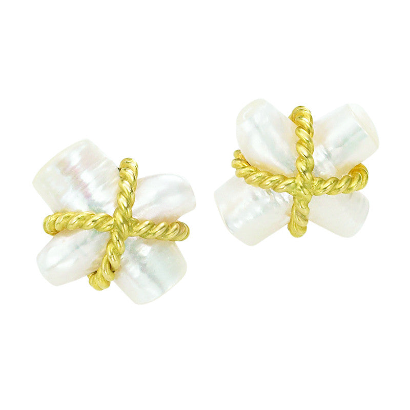 "Fresh Water Pearl ""X"" Gold Twist Rope Earring"