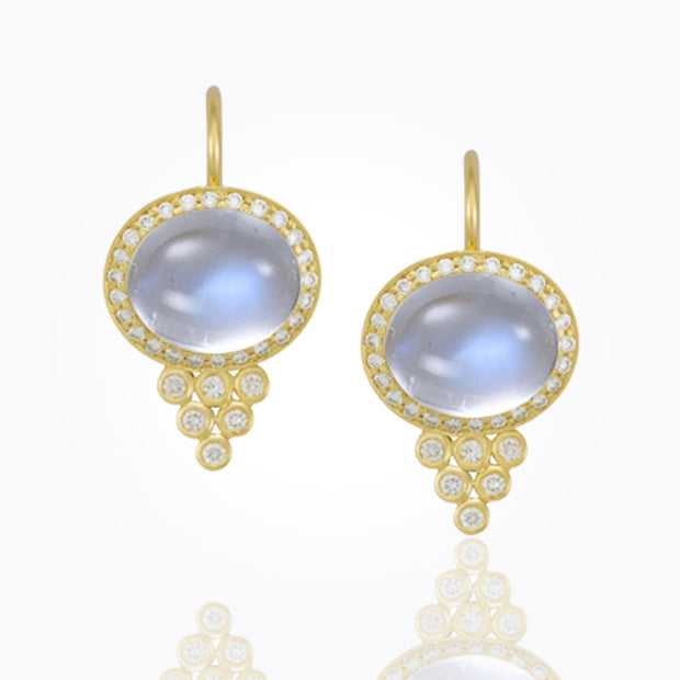 Temple St. Clair 18K Classic Halo Earrings with Royal Blue Moonstone and Diamond Pavé