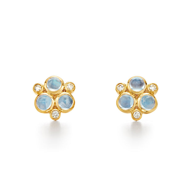 Temple St. Clair 18k Yellow Gold Blue Moonstone and Diamond Studs