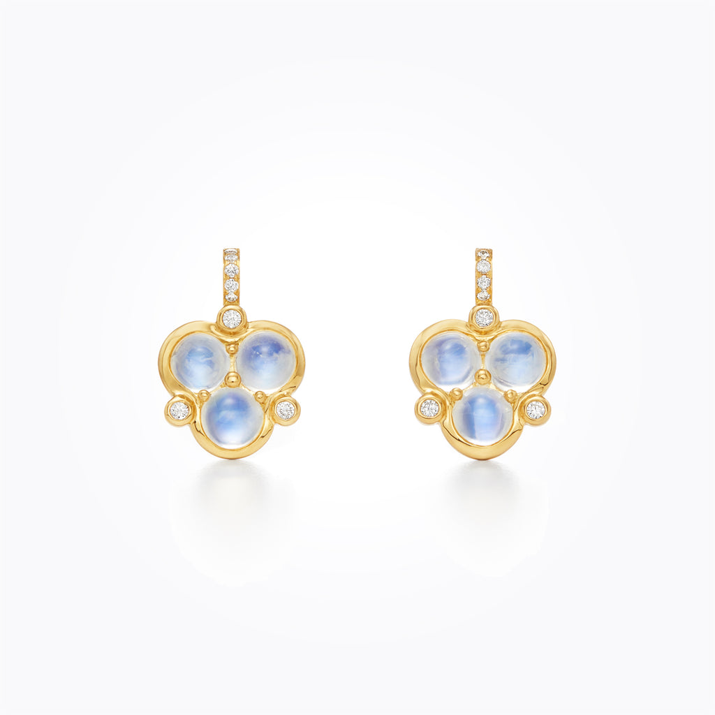 Temple St. Clair 18K Yellow Gold Blue Moonstone Trio Drop Earrings