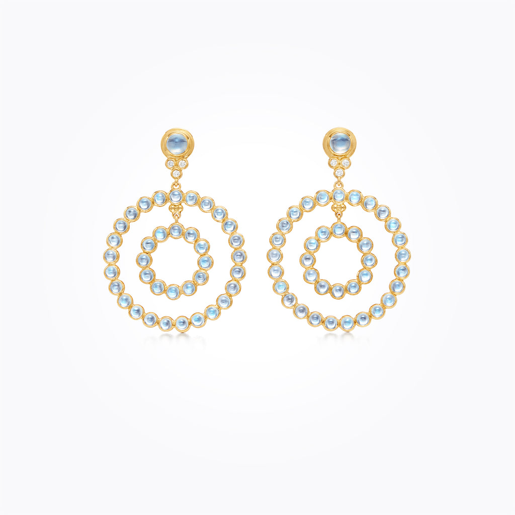 Temple St. Clair 18K Yellow Gold Double Halo Blue Moonstone Earrings