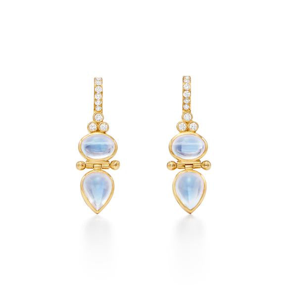 Temple St. Clair 18K Yellow Gold Double Moonstone Drop Earrings