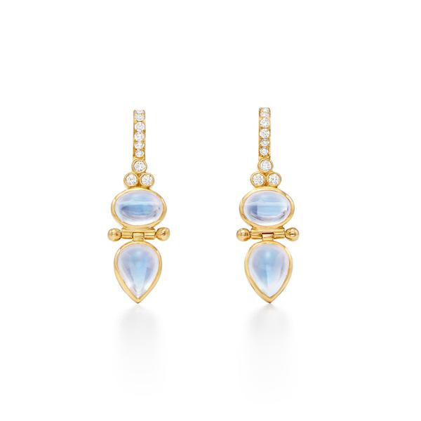 Temple St. Clair 18k Yellow Gold Diamond and Moonstone Drops
