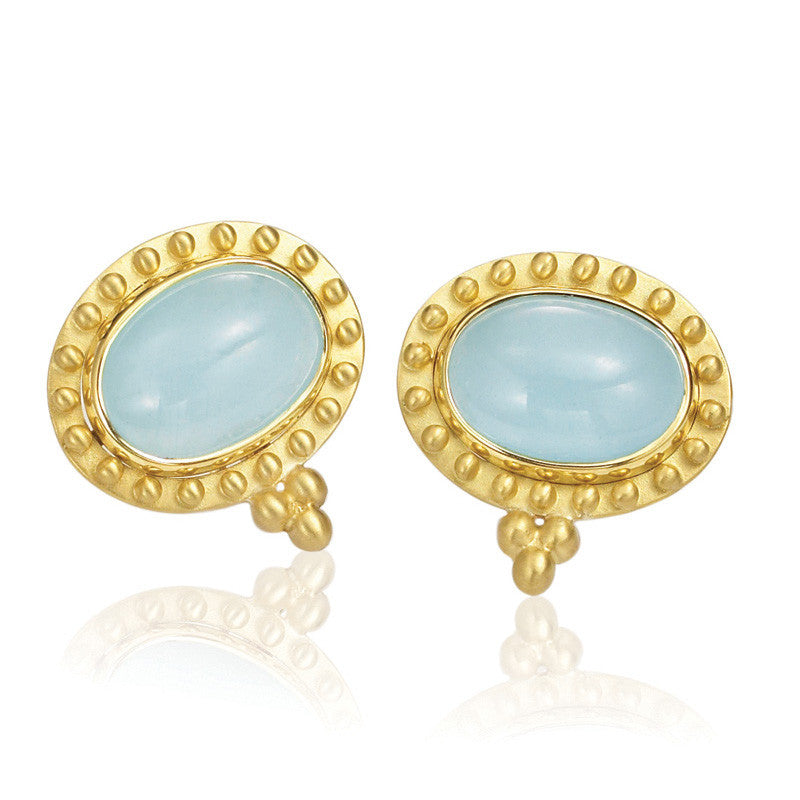 "14kt Yellow Gold ""Capri"" Aquamarine Gold Beaded Earring"