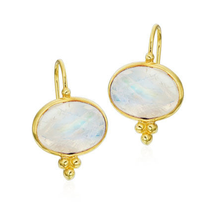 Rainbow Moonstone Cabochon Gold Earring