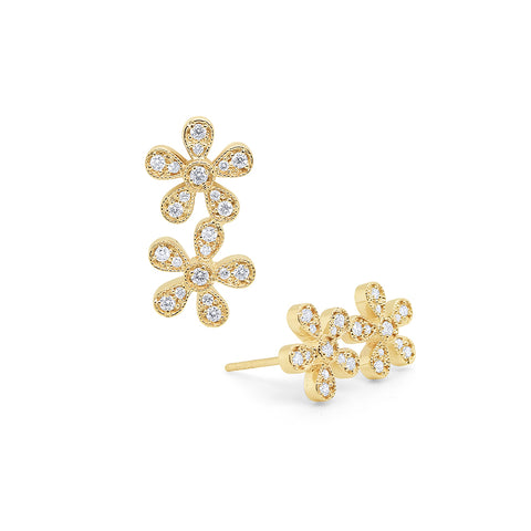 14k Yellow Gold Diamond Double Flower Studs