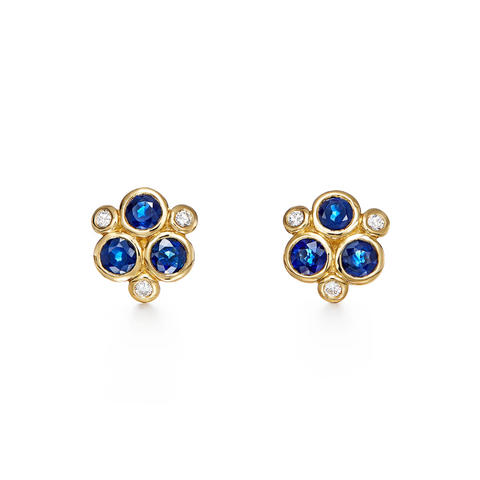 Temple St. Clair 18k Yellow Gold Diamond and Sapphire Studs