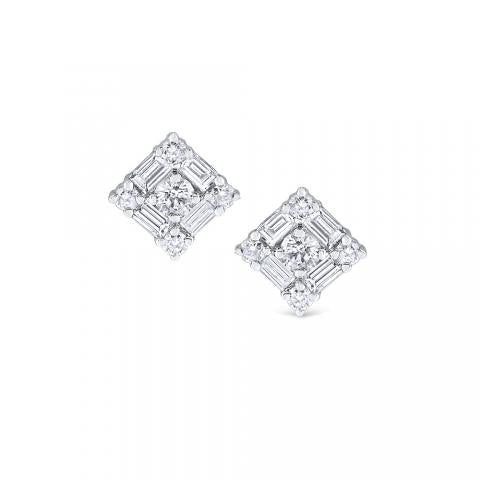 14kt White Gold Mosaic Diamond Stud Earrings