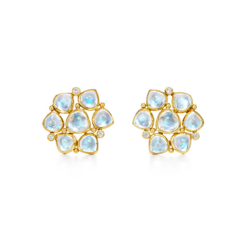 Temple St. Clair 18k Yellow Gold Moonstone and Diamond Studs