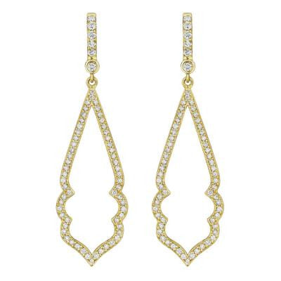 Penny Preville 18kt Yellow Gold Narrow Diamond Arabesque Earrings