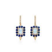 Temple St. Clair 18k Yellow Gold Sapphire and Moonstone Drop Earrings