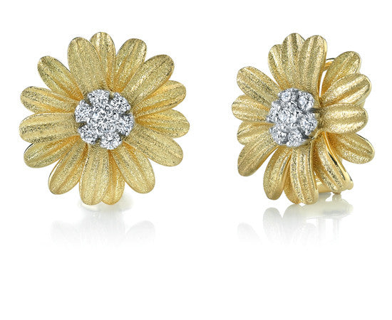 Aaron Henry 18 karat Yellow Gold Daisy Earrings with Diamonds