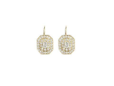 Penny Preville 18kt Yellow Gold Large Pave Emerald Shape with Emerald Cut Center Stone Earring