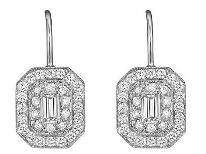 Penny Preville 18kt White Gold Medium Emerald Pave with Emerald Center Cut Diamond Earring