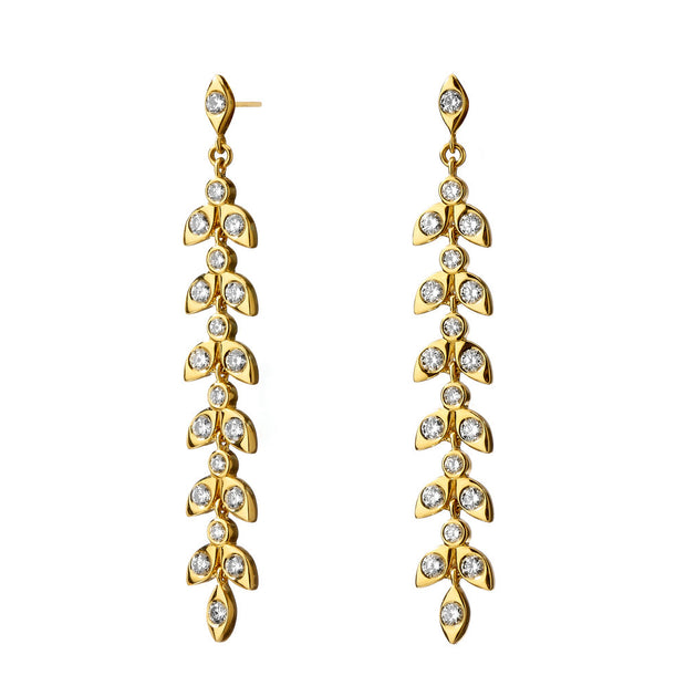 Syna 18k Yellow Gold Diamond Leaf Drops