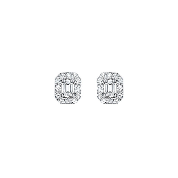 Penny Preville 18k White Gold Emerald Cut Diamond Studs