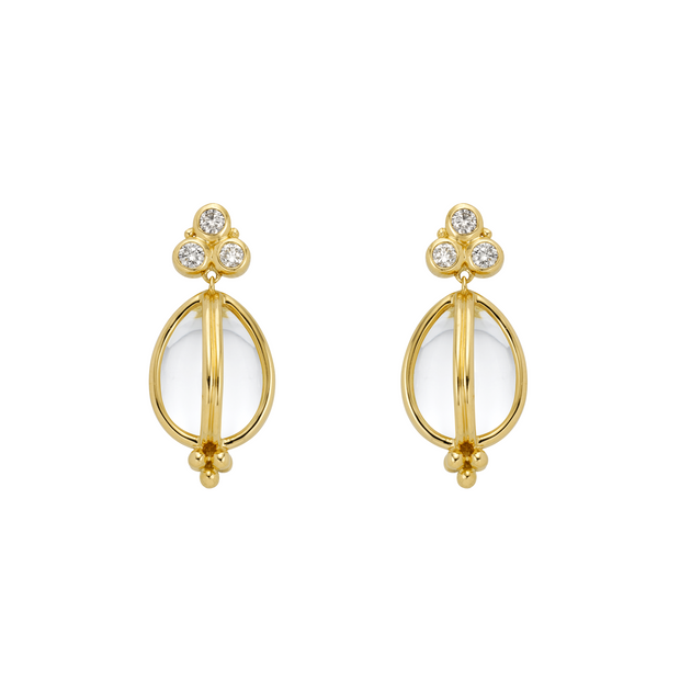 Temple St. Clair 18k Yellow Gold Rock Crystal and Diamond Drops