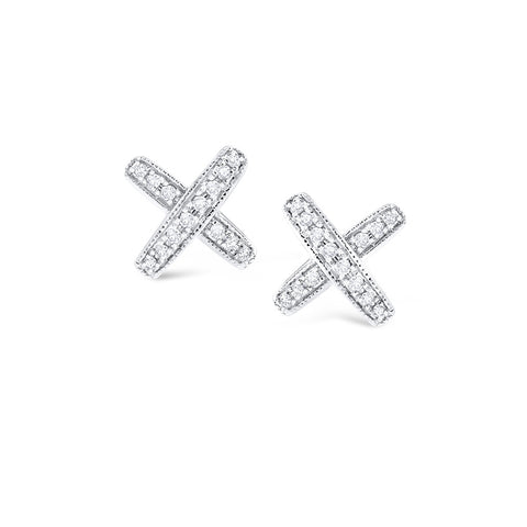 "14k  White Gold Diamond ""X"" Studs"