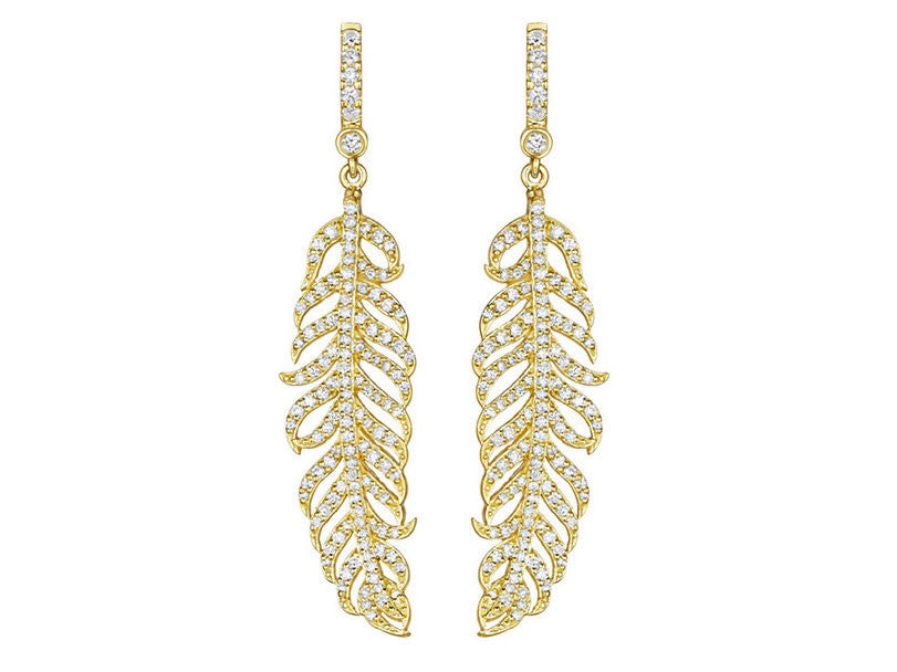 Penny Preville 18kt Yellow Gold Diamond Feather Earrings