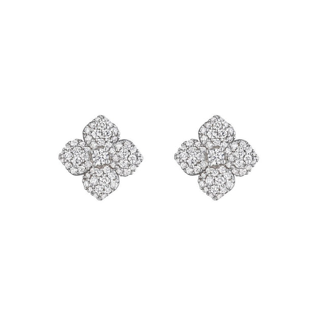 Penny Preville 18k White Gold Diamond Flower Studs