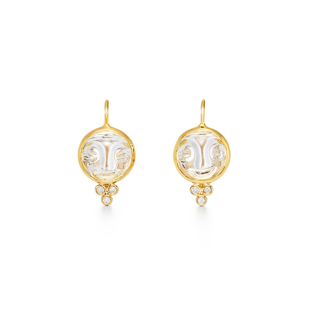 Temple St. Clair 18K Moonface Earrings with Rock Crystal and Diamonds